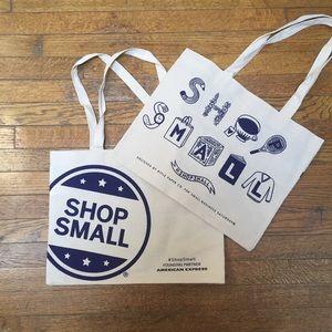 Handbags - 2 Shop Small Tote Bags Natural Cotton Shopping